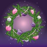 Guirlande de Noël avec des billes Illustration de vecteur pour une carte ou une affiche Image stock