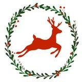 Guirlande de Noël avec des cerfs communs illustration stock