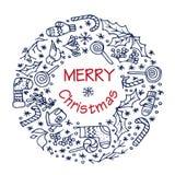 Guirlande de Noël avec différents symboles Photo stock