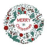 Guirlande de Noël avec différents symboles Photos stock
