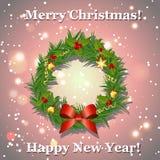 Guirlande de Noël avec l'arc, les boules et les rubans, carte de voeux de nouvelle année Photo libre de droits