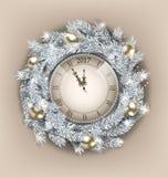 Guirlande de Noël avec l'horloge et boules d'or pendant la bonne année 2017 illustration de vecteur
