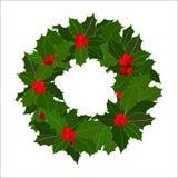 Guirlande de Noël avec la baie de houx Illustration tirée par la main illustration stock