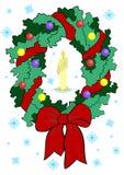 Guirlande de Noël avec la bougie Illustration Libre de Droits