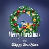 Guirlande de Noël avec la cloche et les boîte-cadeau illustration stock