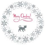 Guirlande de Noël avec le chat Photographie stock