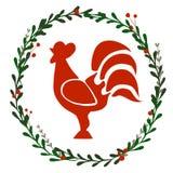 Guirlande de Noël avec le coq illustration stock