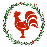 Guirlande de Noël avec le coq Photos stock