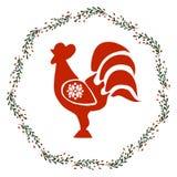 Guirlande de Noël avec le coq illustration de vecteur