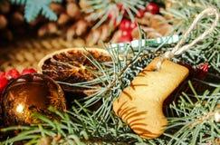 Guirlande de Noël avec les biscuits de gingembre et le sapin bleu Photos stock