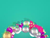 Guirlande de Noël avec les sphères en bas et le fond vert photo stock