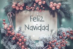 Guirlande de Noël, branche d'arbre de sapin, Feliz Navidad Means Merry Christmas images stock