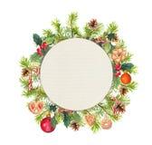 Guirlande de Noël - branches impeccables, gui, biscuits, candycane Cercle d'aquarelle Photographie stock