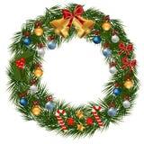 Guirlande de Noël décorée des globes Photos stock