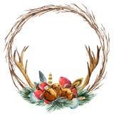 Guirlande de Noël d'aquarelle de vecteur Photographie stock libre de droits