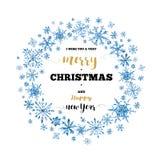 Guirlande de Noël d'hiver d'aquarelle avec des flocons de neige Photos libres de droits