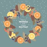 Guirlande de Noël des branches, des cônes, de fruit et des baies de sapin photo libre de droits