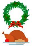 Guirlande de Noël et dinde de fête Photos libres de droits