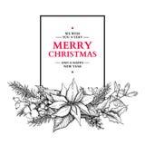 Guirlande de Noël Illustration tirée par la main de vecteur avec le houx, MI Photo libre de droits