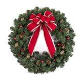 Guirlande de Noël avec la proue rouge Images stock