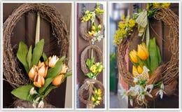 Guirlande de Pâques Décoration de ressort sur la porte en bois de la maison Photographie stock libre de droits