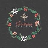 Guirlande de salutation de Noël avec le flocon de neige illustration libre de droits