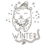 Guirlande de transport d'ours mignon de griffonnage illustration stock