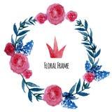Guirlande de vecteur d'aquarelle Conception florale de cadre avec Photo stock
