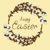 Guirlande de vue pour le texte de jeunes branches de saule avec les bourgeons ouverts Félicitations sur de Joyeuses Pâques illustration libre de droits