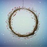 Guirlande des baies d'arbre de chien-rose de branches par temps de chute de neige d'hiver, illustration de vecteur