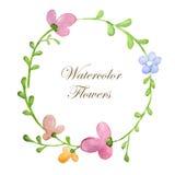 Guirlande des fleurs dans le style d'aquarelle avec le fond blanc Images stock