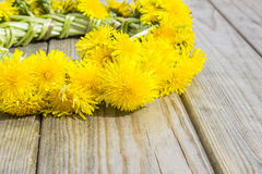 Guirlande des fleurs - pissenlits sur un fond en bois Photos libres de droits