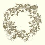 Guirlande des roses et des branches dans le style grunge Image stock