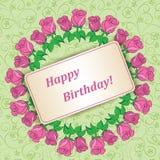 Guirlande des roses sur le fond floral vert - naissance heureuse illustration de vecteur