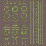 Guirlande, diviseurs des textes et frontières antiques avec des feuilles de laurier, illustration de vecteur