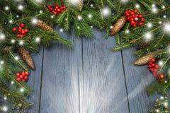 Guirlande du ` s de nouvelle année d'un arbre de Noël vert avec des cônes sur un OE Image stock
