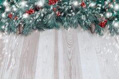 Guirlande du ` s de nouvelle année d'un arbre de Noël vert avec des cônes sur un OE Image libre de droits
