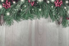 Guirlande du ` s de nouvelle année d'un arbre de Noël vert avec des cônes sur un OE Photos libres de droits