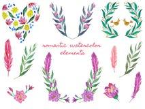 Guirlande et coeur floraux Ensemble de trames d'aquarelle Illustrations botaniques illustration libre de droits