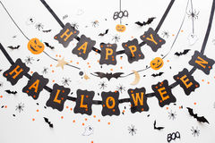 Guirlande et décoration heureuses de noir de partie de Halloween Images stock