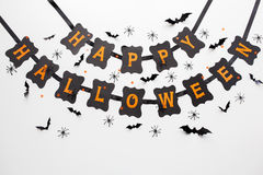 Guirlande et décoration heureuses de noir de partie de Halloween Photos libres de droits