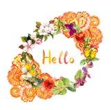 Guirlande florale - conception fleurie orientale Fleurs, papillons Aquarelle écervelée Images stock