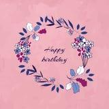 Guirlande florale d'anniversaire Images libres de droits