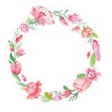 Guirlande florale d'aquarelle Photo libre de droits