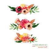 Guirlande florale d'aquarelle de vecteur réglée avec le vintage Image libre de droits