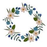 Guirlande florale d'isolement sur le fond blanc Trame florale de vecteur Photographie stock libre de droits
