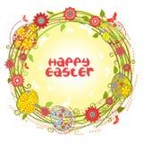 Guirlande florale de cartes de Pâques de vecteur Image libre de droits
