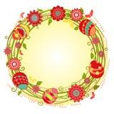 Guirlande florale heureuse de cartes de Pâques de vecteur Photo stock