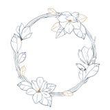 Guirlande graphique de magnolia Conception florale de vecteur d'isolement sur le fond blanc Conception de page de livre de colori Photos stock