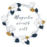 Guirlande graphique de magnolia dans des couleurs bleues et en bronze profondes L'illustartion à la mode d'aspiration de main de  Images libres de droits